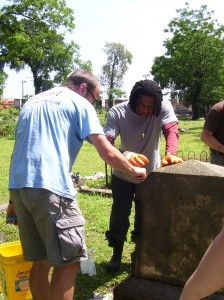 Cleaning headstones